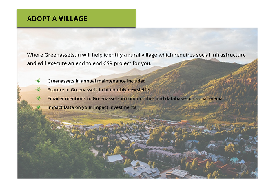 How to adopt a village to provide CSR donations for social infrastructure development.