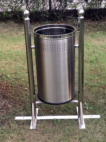 Stainless Steel Outdoor Waste Bin - Single