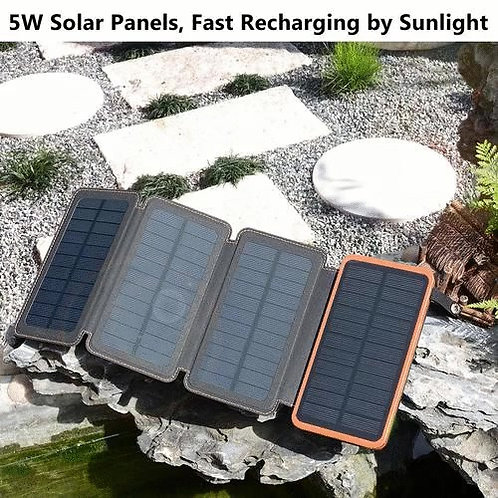 Hiluckey Waterproof 25000 mAh Outdoor Portable Power Bank with 4 Solar Panels