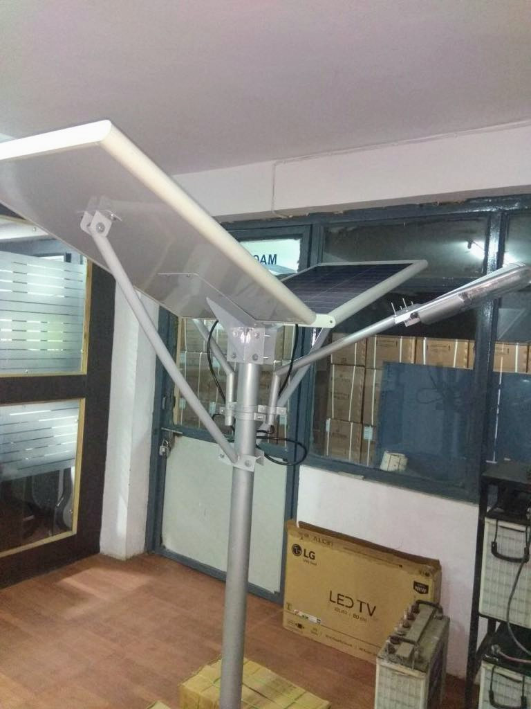 2 Pc Solar Street Light - Solar Panel with Battery Bank Combo System