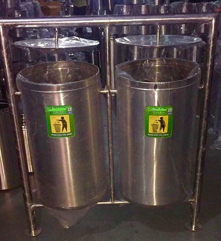 Stainless Steel Outdoor Waste Bin - Twin