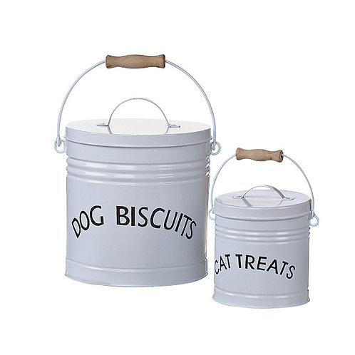 Set of 2 White Enameled Pet Treat Containers