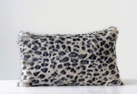Leopard Print Goat Fur Pillow