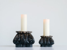 Small Hand-Carved Mango Wood Column Candleholder
