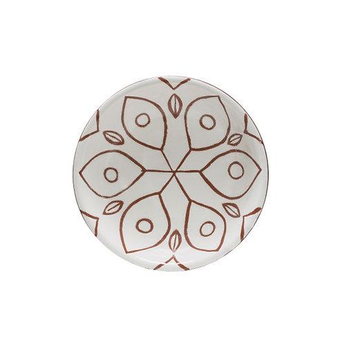 White & Sienna Patterned Terracotta Bowl