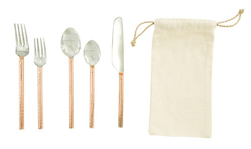 Stainless Steel Flatware with Copper Finished Handles (Set of 5)