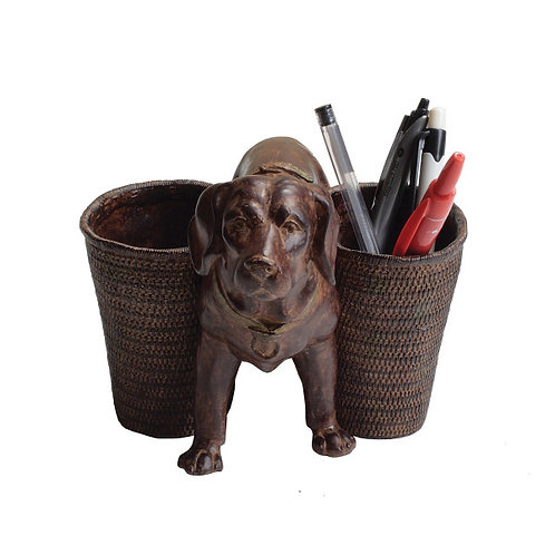 Resin Dog with 2 Baskets