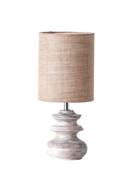 Small Bleached Mango Wood Table Lamp with Jute Shade