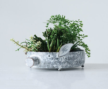Decorative Metal Pig Container