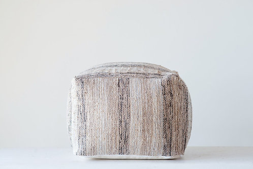 White, Brown & Black Square Cotton Chindi Pouf