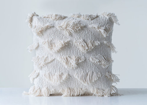 Embroidered White Square Cotton Pillow with Eyelash Fringe