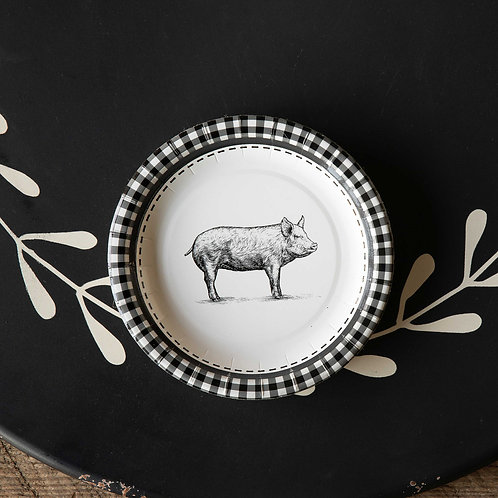 "Black & White Pig Paper Salad & Dessert Plates, 7"", Package of 8"