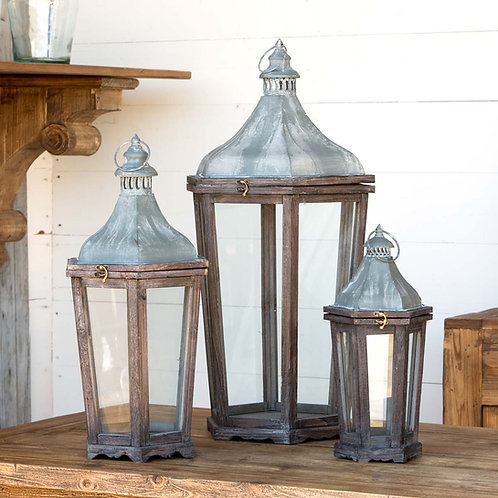 Wood and Galvanized Metal Lanterns (set of 3)