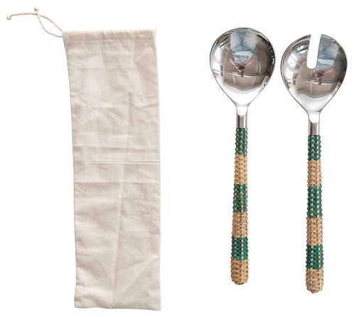 Stainless Steel Salad Servers with Striped Cane Handles (Set of 2 Pieces)