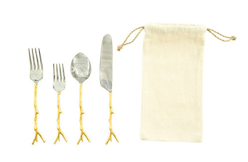 Stainless Steel Flatware Set with Gold Twig Shaped Aluminum Handle (Set of 5)
