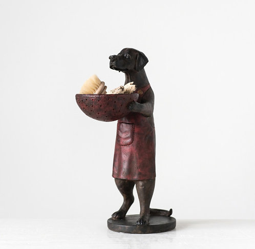 Brown & Red Resin Dog Holding Decorative Bowl