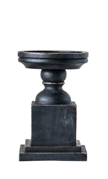 Small Black Hand-Carved Mango Wood Candleholder