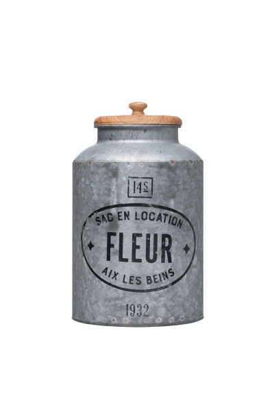 """Fleur"" Vintage Reproduction Galvanized Metal Container with Wood Lid"
