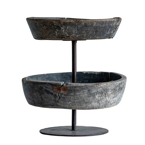 Decorative Reclaimed Wood & Metal Bowl