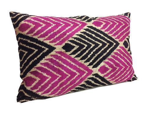 Red Violet Black - IKAT Silk/Velvet Pillow