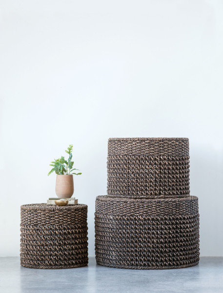 Black & Brown Woven Water Hyacinth Ottomans/Tables (Set of 3)