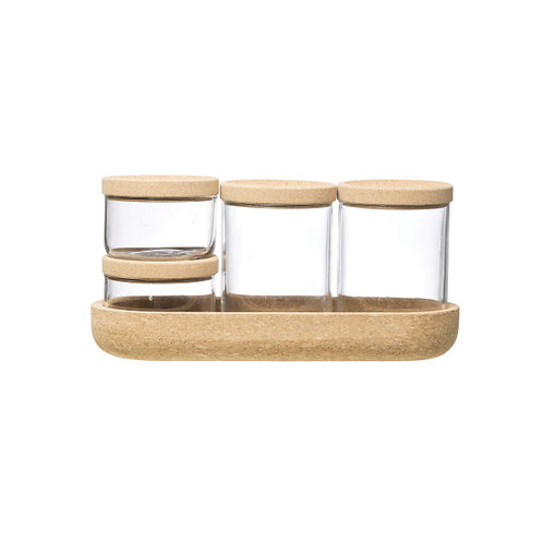 4 Clear Glass Jars with Cork Lids & Tray (Set of 9 Pieces including Lids)