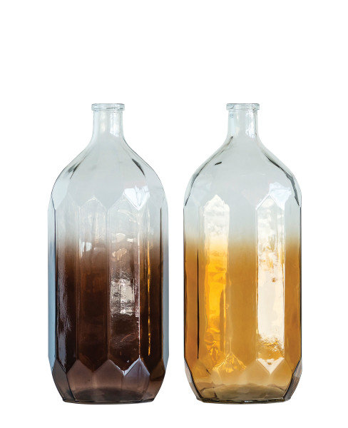 Large Decorative Glass Bottle with Color Vanishing to Clear (Set of 2)