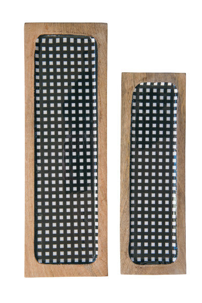 Black Gingham Enameled Mango Wood Trays (Set of 2)