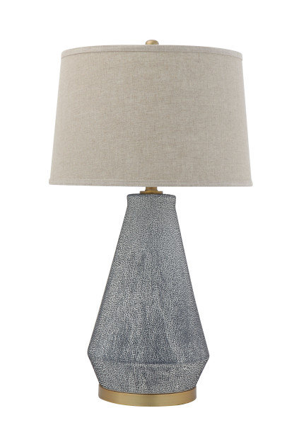 Textured Blue Glaze Ceramic Table Lamp with Natural Linen Shade