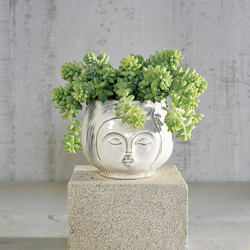 Pucker Up Ceramic Planter - White