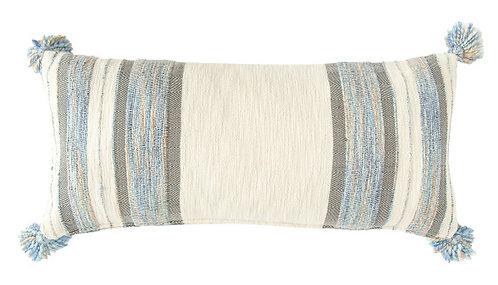 Blue, Grey & Cream Striped Cotton Blend Lumbar Pillow with Tassels