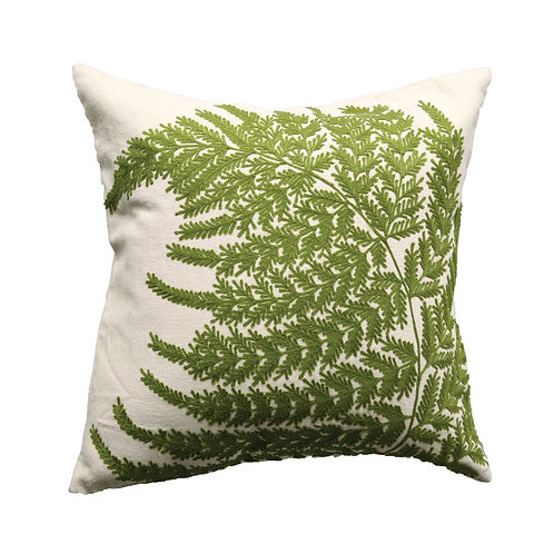White Square Cotton Pillow with Embroidered Green Ferns