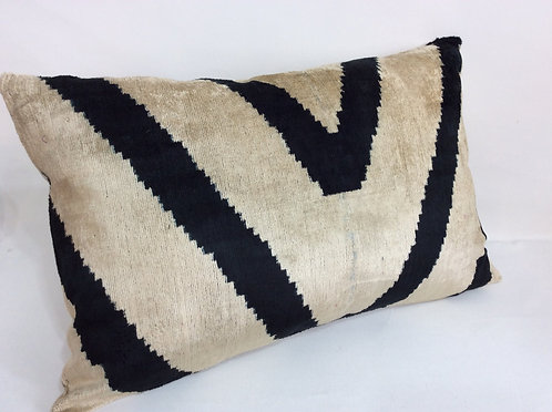 V Black - IKAT Silk/Velvet Pillow