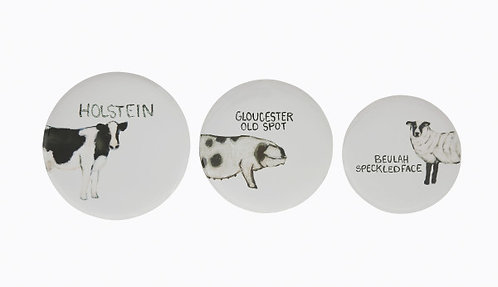 Round Tin Trays with Farm Animal Images (Set of 3)