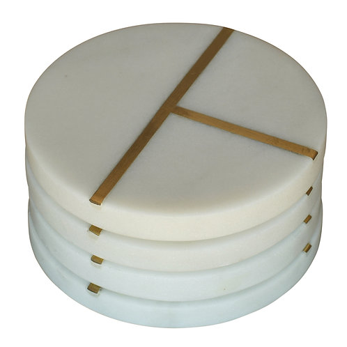 Aperture Coaster - Marble and Brass Round