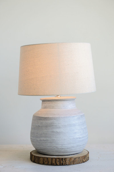 Grey Ceramic Table Lamp with Natural Linen Shade