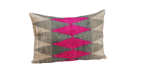 Heart Rhythm - IKAT Silk/Velvet Pillow