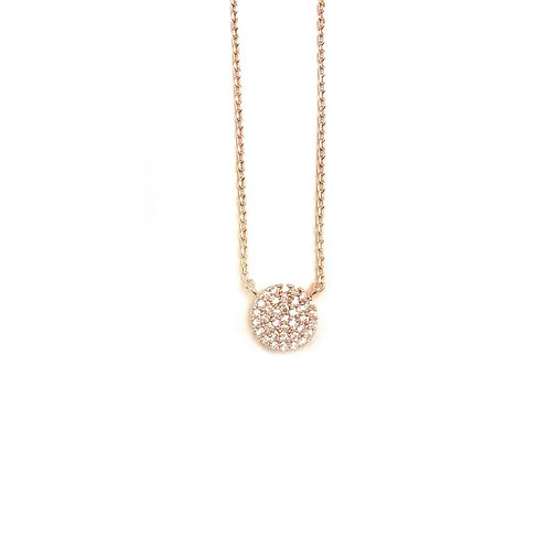 Pave Disc Rose Gold Necklace