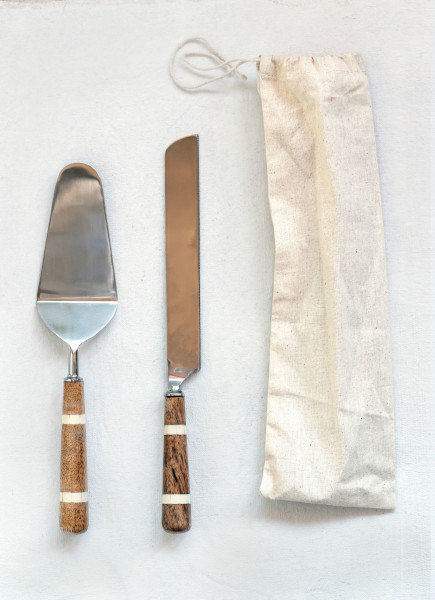 Stainless Steel Cake Knife & Server with Wood & Horn Inlay Handle (Set of 2)