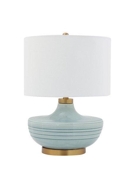 Striped Aqua Ceramic Table Lamp with White Linen Shade