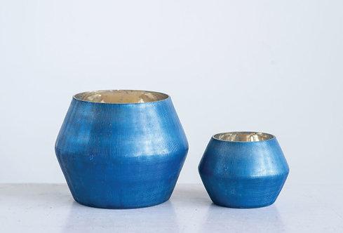 Large Embossed Blue Mercury Glass Votive Holder