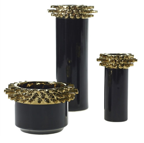 Black and Gold Dominix Vase - Low