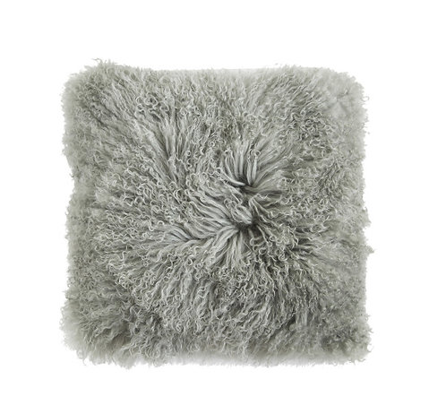 Square Sage Green Mongolian Lamb Fur Pillow