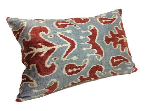 Neptune Blue - IKAT Silk/Velvet Pillow