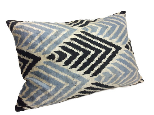Heather Blue - IKAT Silk/Velvet Pillow