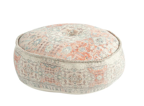 Heavily Distressed Multicolor Print Cotton Pouf