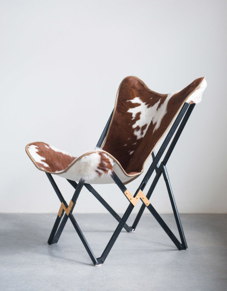 Cowhide Folding Butterfly Chair with Black & Gold Metal Base