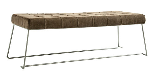 Brown Corduroy Bench with Metal Legs