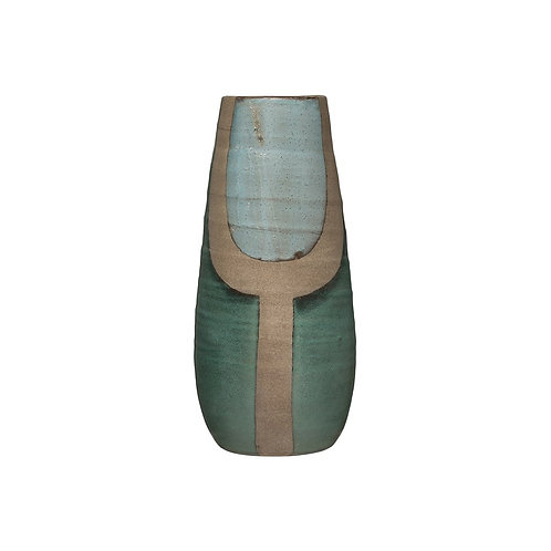 Hand-Painted Terra-cotta Vase, Blue & Turquoise Color