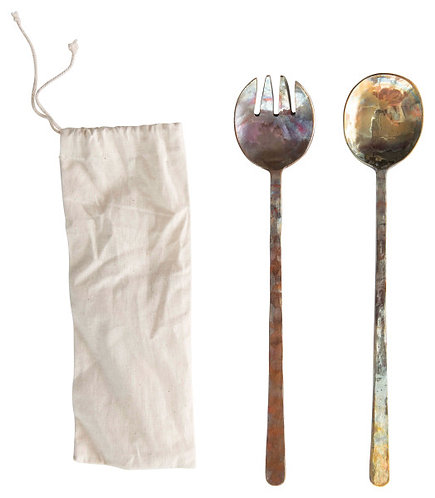 Copper Salad Servers with Burnt Finish & Textured Flat Handles (Set of 2 Pieces)
